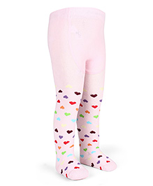 Mustang Footed Stocking Tights Heart Design - Light Pink