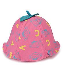 Babyhug Bucket Hat ABC Print - Deep Pink