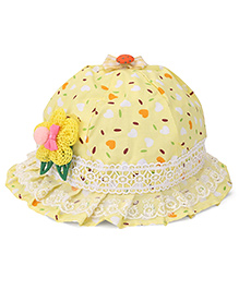 Babyhug Bucket Hat Floral Applique - Yellow