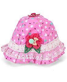 Babyhug Bucket Hat Floral Applique - Blue