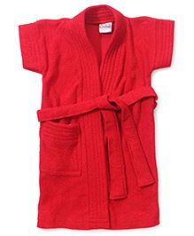 Babyhug Half Sleeves Bathrobe - Red