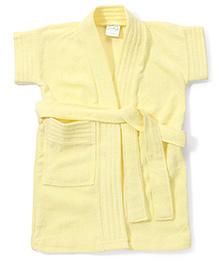 Babyhug Half Sleeves Solid Color Bathrobe - Yellow