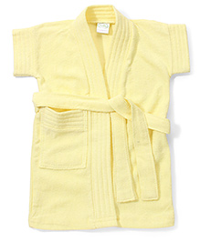 Babyhug Half Sleeves Solid Color Bathrobe - Yellow