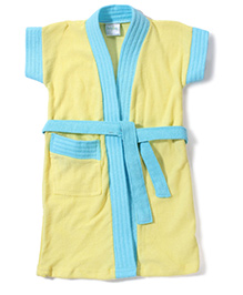 Babyhug Half Sleeves Bathrobe - Blue And Yellow