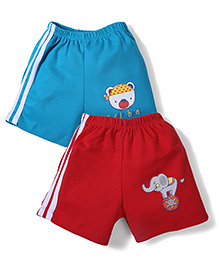 Tango Casual Shorts Elephant Print Set of 2 - Red And Blue