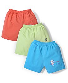Tango Casual Shorts Set of 3 - Orange Green Blue