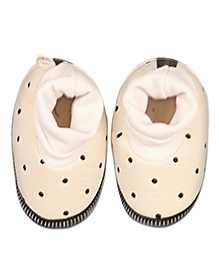 Kidofy Polka Dot Print Booties - Cream