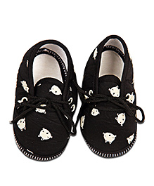 Kidofy Kitty Face Print Booties - Black