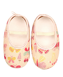 Kidofy Butterfly Print Booties - Off White