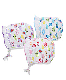 Babyhug Multi Printed Bonnet Cap With Knot - Sky Blue Pink Purple