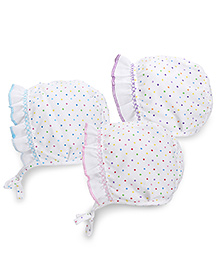 Babyhug Polka Dotted Bonnet Cap With Tie Knot - Pink Purple Blue