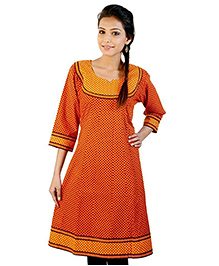 Little India Three Fourth Sleeves Exclusive Designer Printed Maternity Kurti - Orange