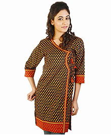 Little India Three Fourth Designer Sleeves Jaipuri Print Maternity Kurti -  Red Black