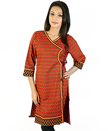 Little India Three Fourth Sleeves Ethnic Design Hand Blocks Print Maternity Maternity Kurti -  Red Black