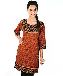 Little India Three Fourth Sleeves Jaipuri Designer Printed Maternity Kurti - Red Black
