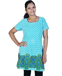 Little India Half Sleeves Abstract Design Maternity Kurti - Turquoise