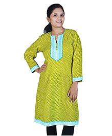 Little India Three Fourth Sleeves Exclusive Designer Lehriya Ethnic Maternity Kurti  - Green