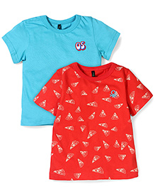 UCB Half Sleeves T-Shirt Pack Of 2 - Red & Teal Blue