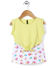 UCB Sleeveless Frock Flower Print & Tie Knot Style - Yellow White