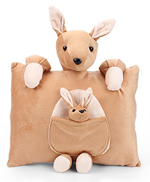 Tickles Kangaroo With Joey Design Cushion - Light Brown And White