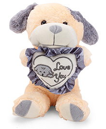 Tickles I Love Heart Standing Dog Soft Toy Peach And Grey - 13 Inches