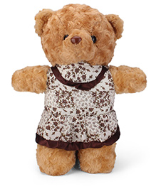 Tickles Sweet Teddy With Frock Soft Toy Brown - 15 Inches