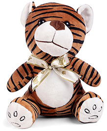 Tickles Tiger Soft Toy With Bow Brown Black White - 9 Inches