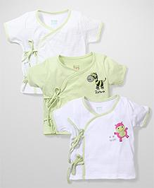 Ohms Half Sleeves Jhabla Set of 3 - Green White