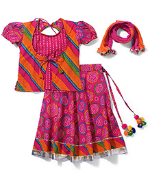 Exclusive From Jaipur Short Sleeves Choli Ghagra With Dupatta - Pink