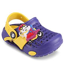 Cute Walk by Babyhug Clogs With Back Strap Bike Motif - Purple & Yellow