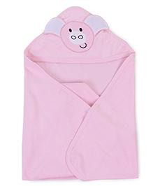 Babyhug Hooded Bath Towel Animal Patch On Hood - Pink