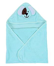 Babyhug Hooded Bath Towel Puppy Patch On Hood - Green