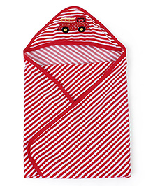 Babyhug Striped Hooded Bath Towel Vehicle Embroidery On Hood - Red