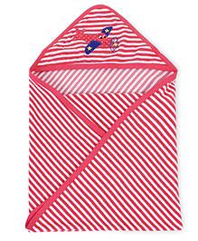 Babyhug Striped Hooded Bath Towel Airplane Embroidery On Hood - Light Red