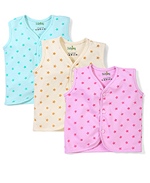 Babyhug Sleeveless Vest Star Print - Pack Of 3