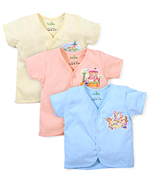 Babyhug Half Sleeve Vest With Print On Chest - Pack Of 3