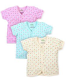 Babyhug Half Sleeves Vest Star Print - Pack Of 3