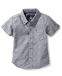 Gini & Jony Half Sleeves Shirt Self Design - Grey