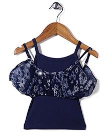 Gini & Jony Singlet Layered Top Floral Print - Blue
