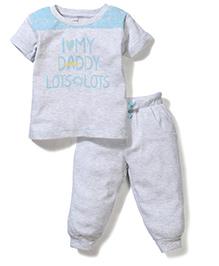 Gini & Jony Half Sleeves T-Shirt And Pant Caption Print - Light Grey