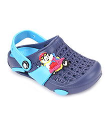 Cute Walk by Babyhug Clogs With Back Strap Scooter Applique - Navy & Aqua Blue