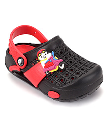 Cute Walk by Babyhug Clogs With Back Strap Scooter Applique - Black & Red