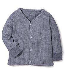 Babyhug Full Sleeves Front Open Thermal Vest - Grey