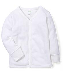 Babyhug Full Sleeves Front Open Thermal Vest - White
