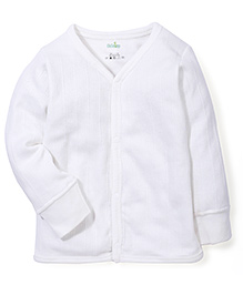 Babyhug Full Sleeves Front Open Thermal Vest - White