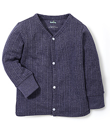 Babyhug Full Sleeves Front Open Thermal Vest - Dark Grey