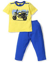 Taeko Half Sleeves Motorcycle Print T-Shirt & Pajama Night Suit - Yellow & Royal Blue