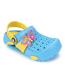 Cute Walk by Babyhug Clogs With Back Strap Butterfly Motif - Cyan Blue & Yellow