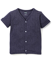 Babyhug Half Sleeves Front Open Thermal Vest - Dark Grey