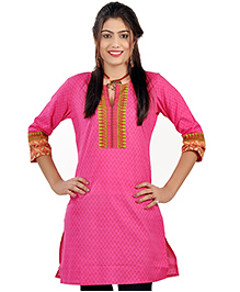 Little India Three Fourth Sleeves Exclusive Designer Printed Maternity Kurti - Pink